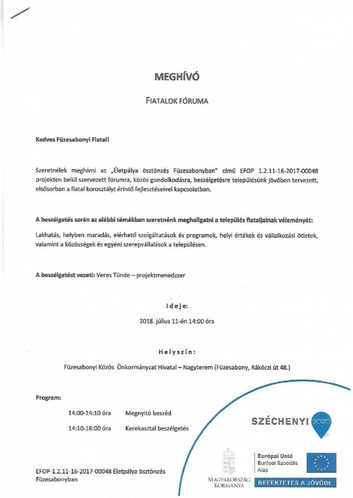 EFOP - 1.2.11-16-2017-00048 Életpálya ösztönzés Füzesabonyban- Fiatalok Fóruma 1.oldal