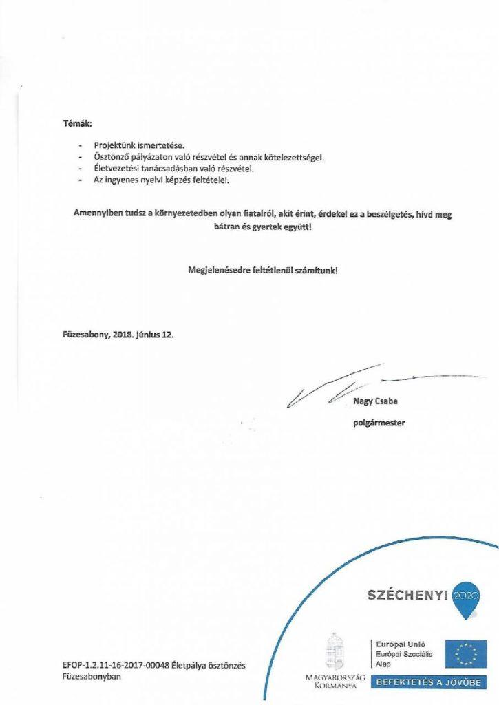 EFOP - 1.2.11-16-2017-00048 Életpálya ösztönzés Füzesabonyban- Fiatalok Fóruma 2.oldal
